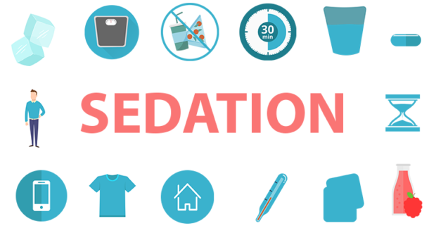 the word sedation with graphics around representing care tips