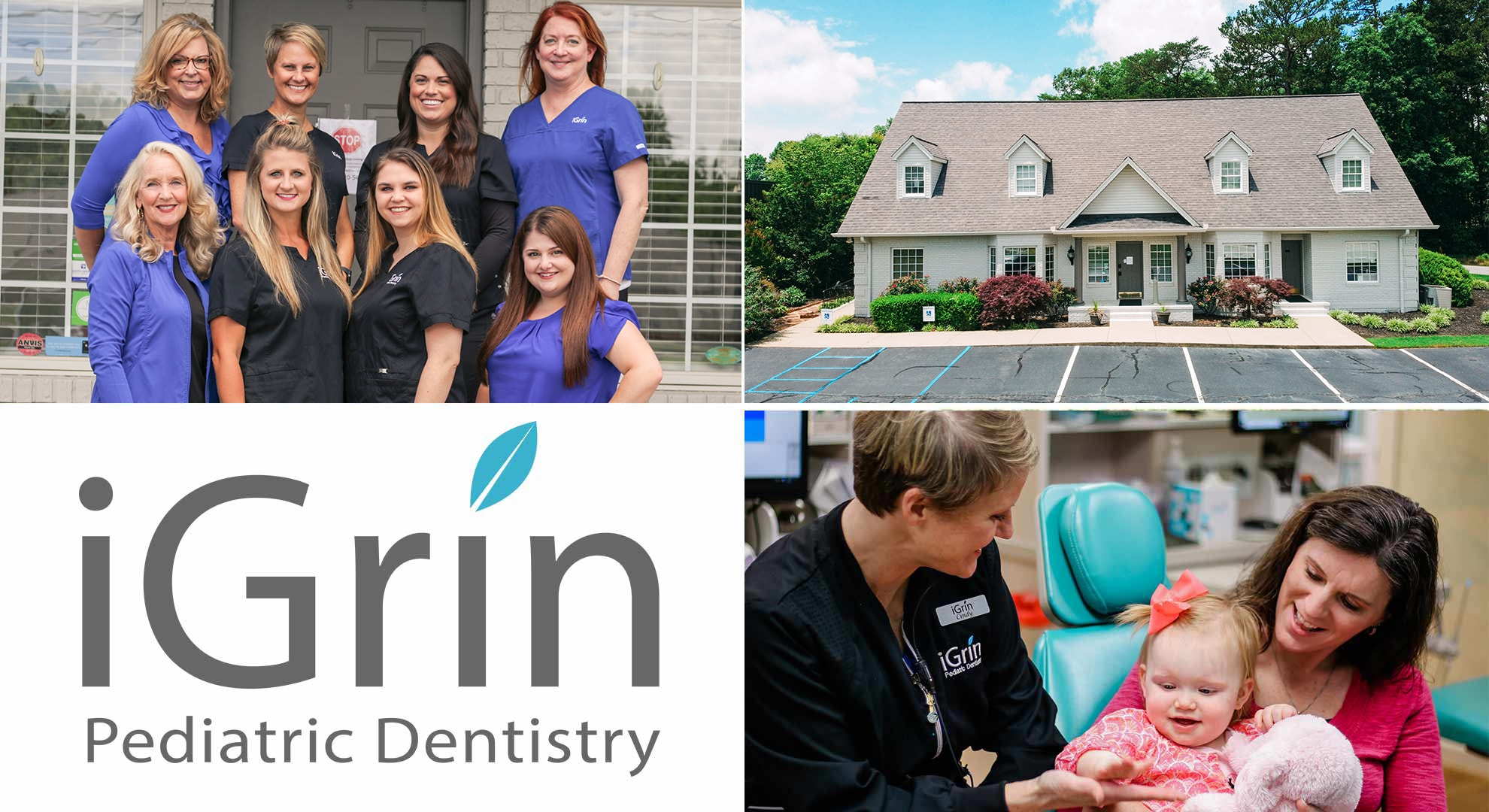 Collage of the iGrin Pediatric Dentistry team at Powdersville, SC